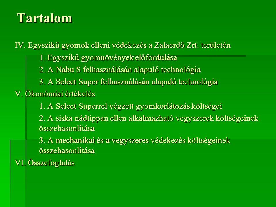 Tartalom IV. Egyszikű gyomok elleni védekezés a Zalaerdő Zrt. területén. 1. Egyszikű gyomnövények előfordulása.