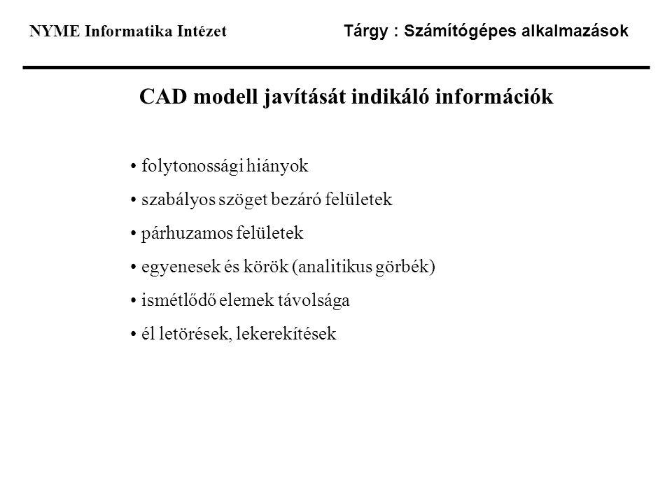 CAD modell javítását indikáló információk