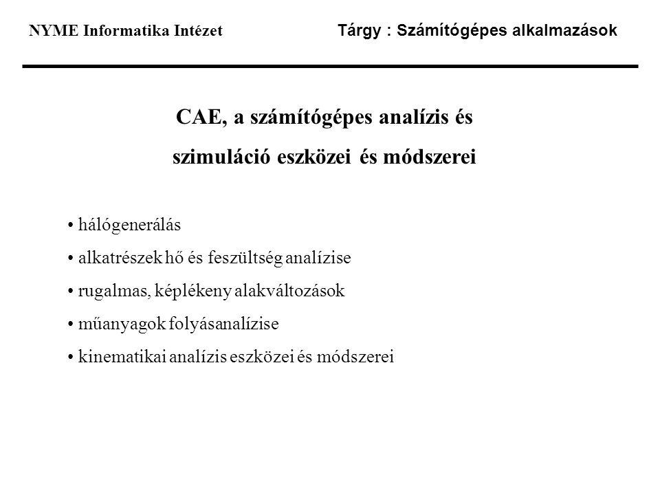 CAE, a számítógépes analízis és szimuláció eszközei és módszerei