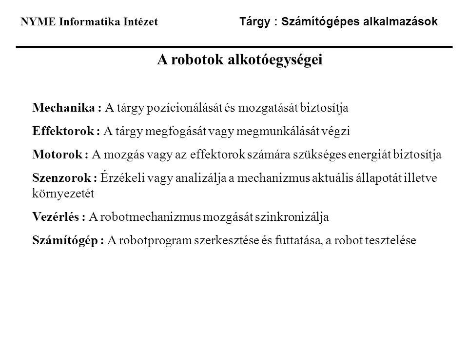A robotok alkotóegységei