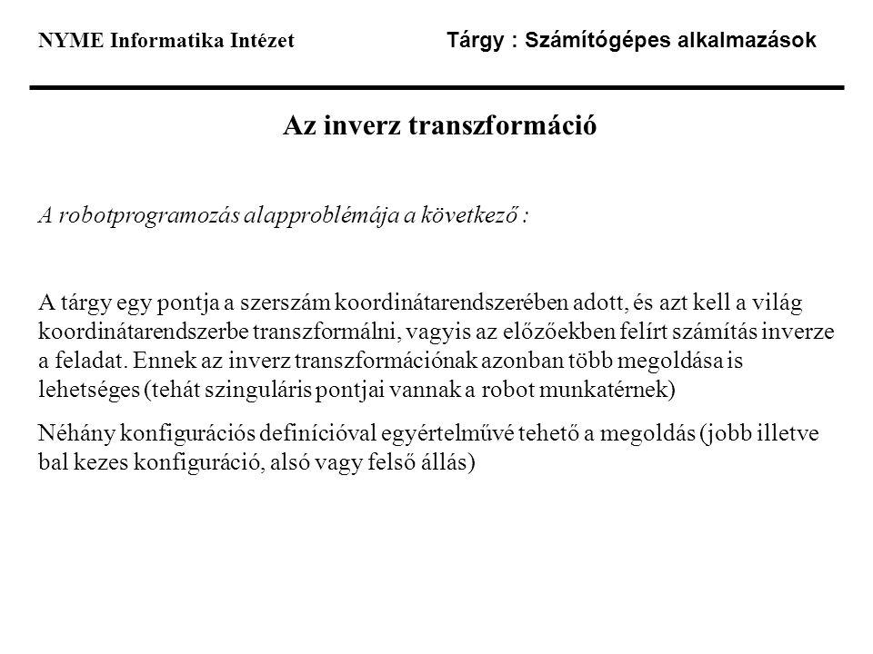 Az inverz transzformáció