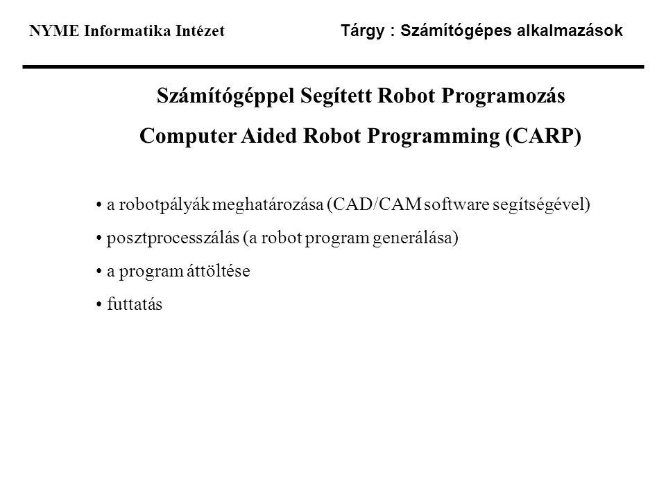 Számítógéppel Segített Robot Programozás