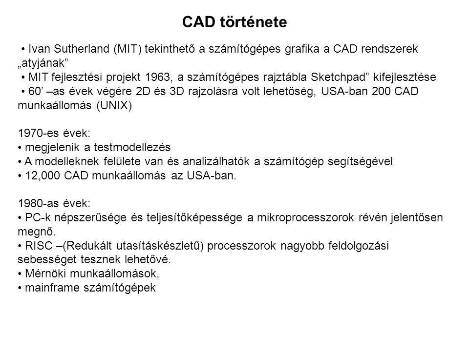 """CAD története • Ivan Sutherland (MIT) tekinthető a számítógépes grafika a CAD rendszerek. """"atyjának"""