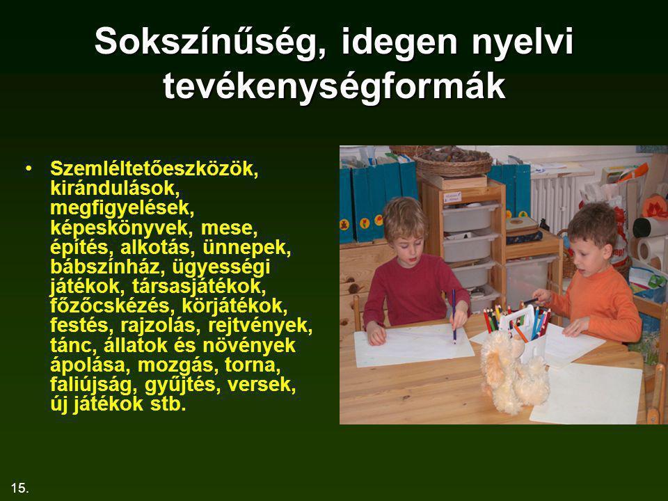 Sokszínűség, idegen nyelvi tevékenységformák