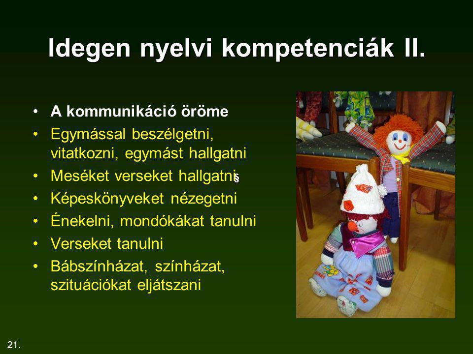Idegen nyelvi kompetenciák II.