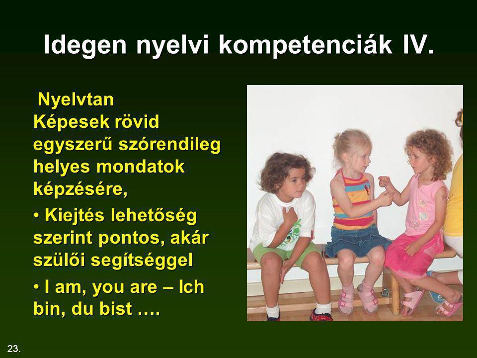 Idegen nyelvi kompetenciák IV.