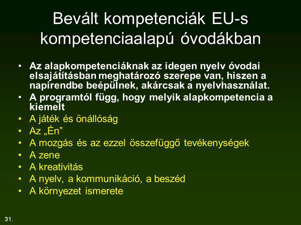 Bevált kompetenciák EU-s kompetenciaalapú óvodákban