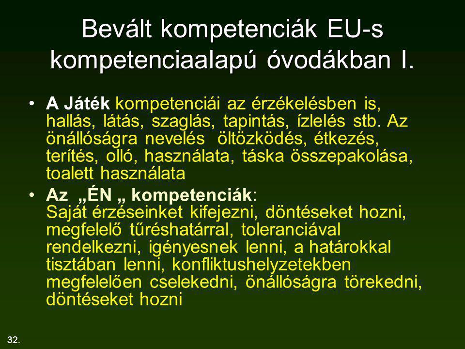 Bevált kompetenciák EU-s kompetenciaalapú óvodákban I.