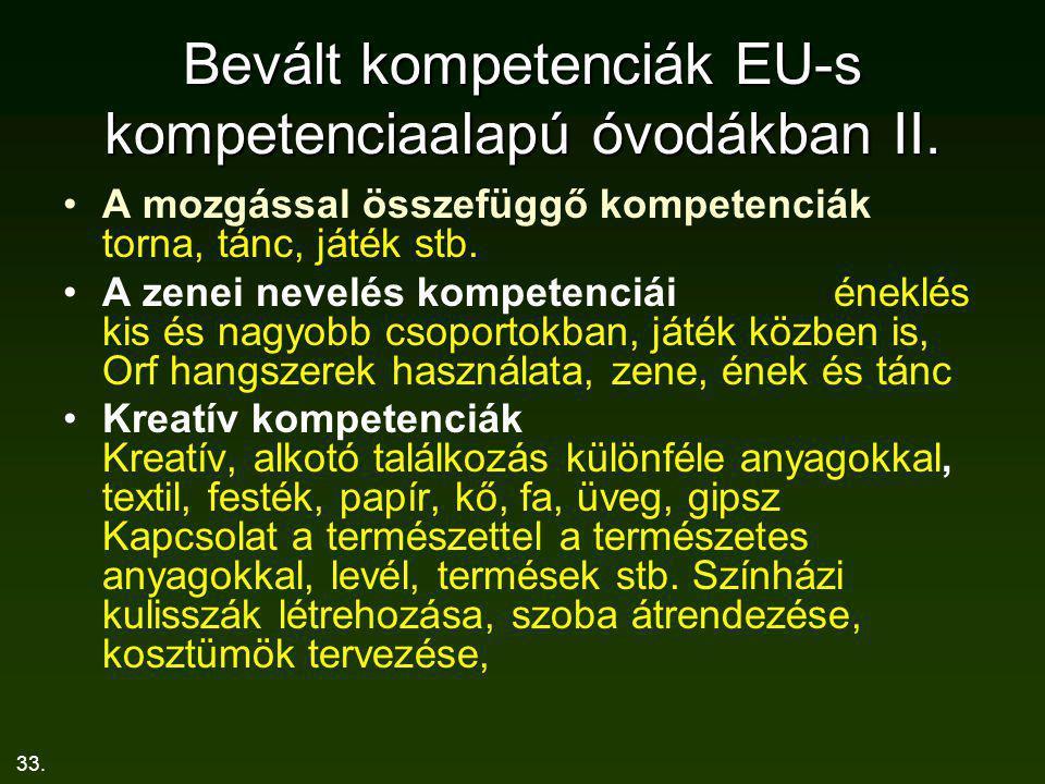 Bevált kompetenciák EU-s kompetenciaalapú óvodákban II.