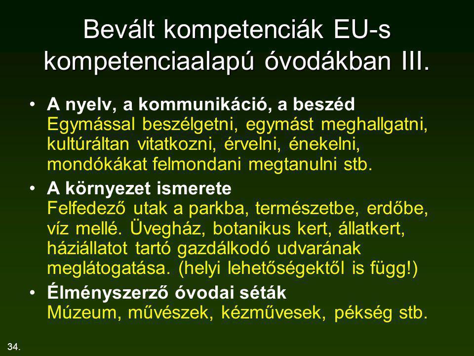 Bevált kompetenciák EU-s kompetenciaalapú óvodákban III.