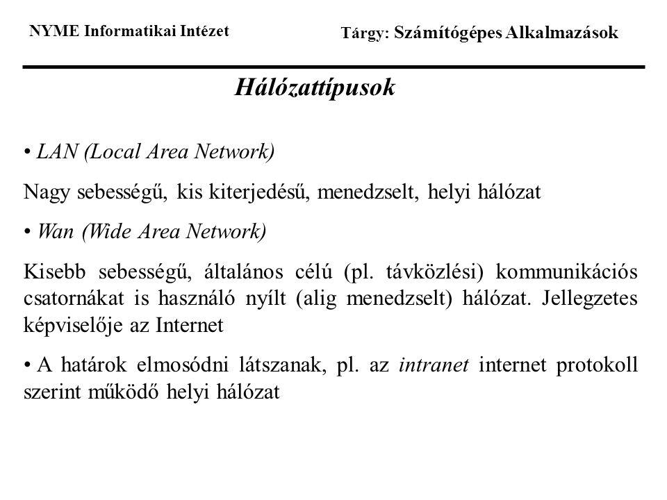 Hálózattípusok LAN (Local Area Network)