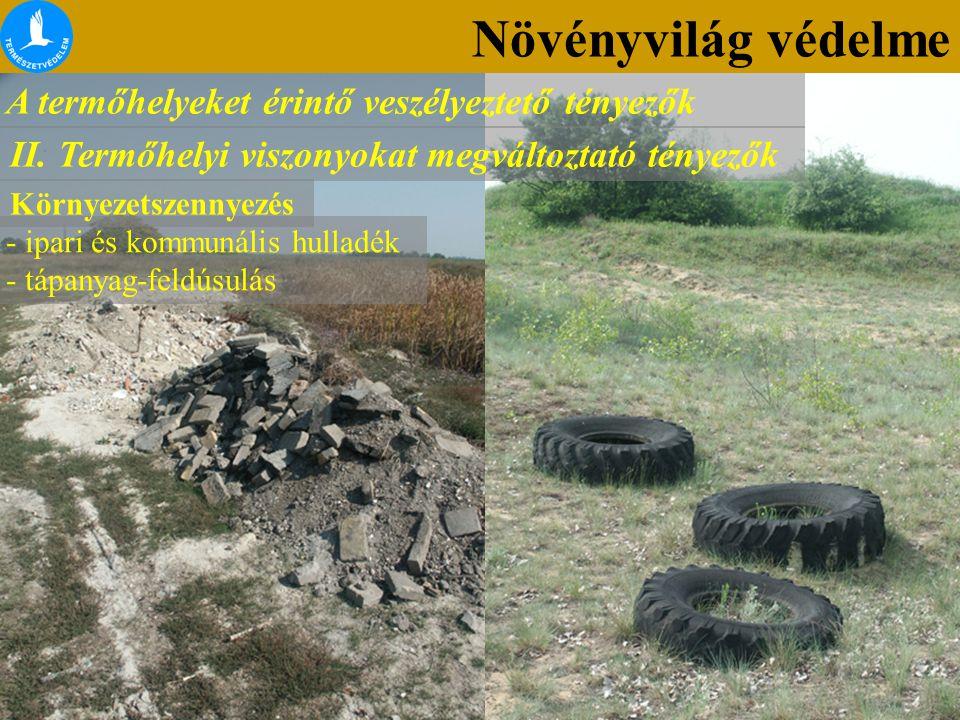 Növényvilág védelme A termőhelyeket érintő veszélyeztető tényezők