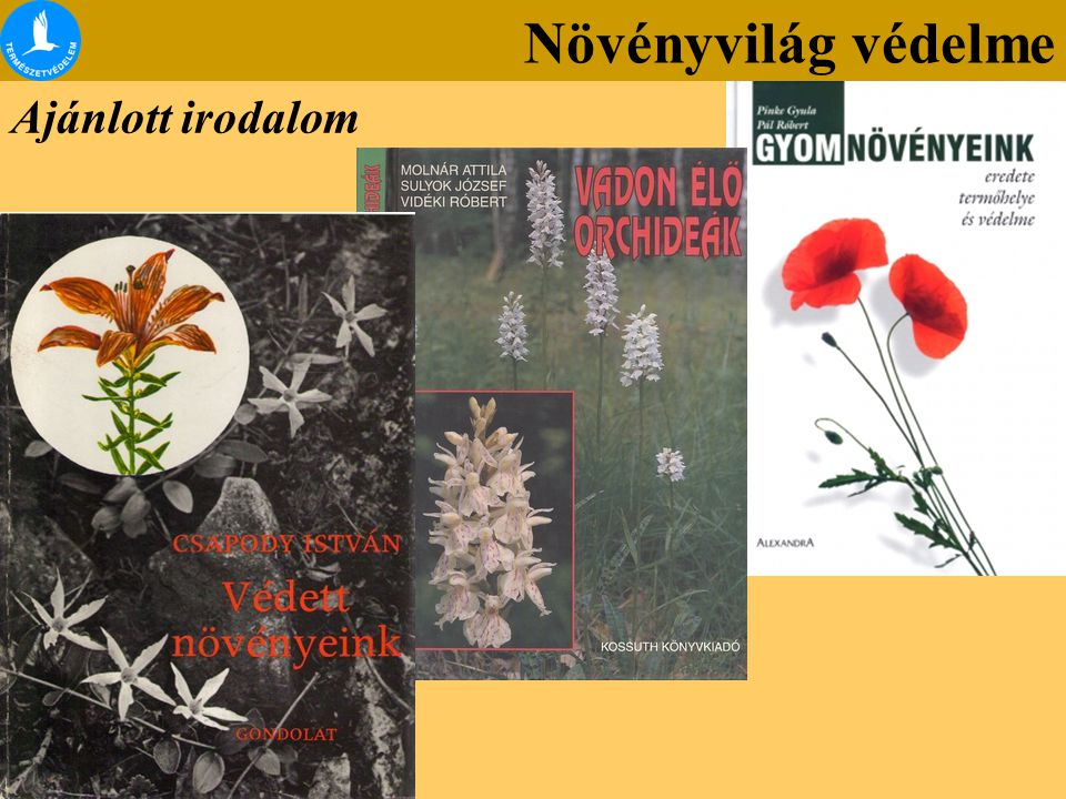 Növényvilág védelme Ajánlott irodalom