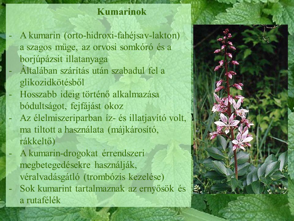 Kumarinok A kumarin (orto-hidroxi-fahéjsav-lakton) a szagos müge, az orvosi somkóró és a borjúpázsit illatanyaga.