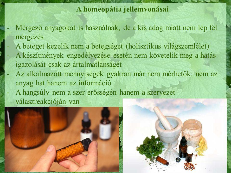A homeopátia jellemvonásai
