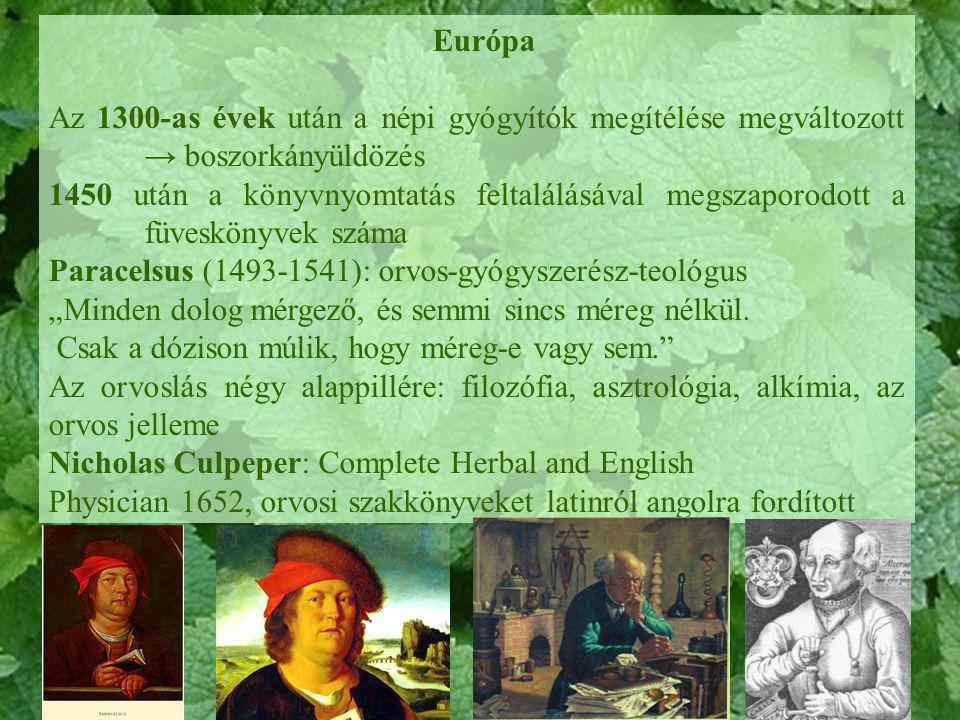 Európa Az 1300-as évek után a népi gyógyítók megítélése megváltozott → boszorkányüldözés.