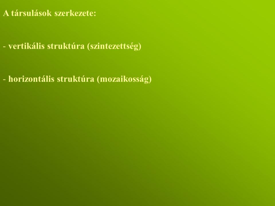 A társulások szerkezete: