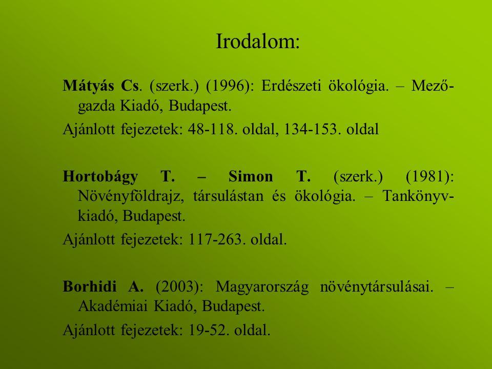 Irodalom: Mátyás Cs. (szerk.) (1996): Erdészeti ökológia. – Mező-gazda Kiadó, Budapest. Ajánlott fejezetek: 48-118. oldal, 134-153. oldal.