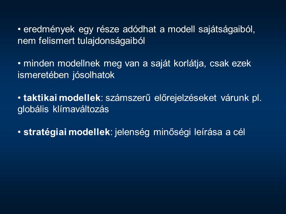 eredmények egy része adódhat a modell sajátságaiból, nem felismert tulajdonságaiból