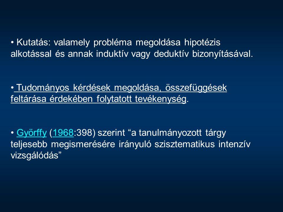 Kutatás: valamely probléma megoldása hipotézis alkotással és annak induktív vagy deduktív bizonyításával.