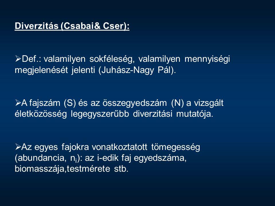 Diverzitás (Csabai& Cser):