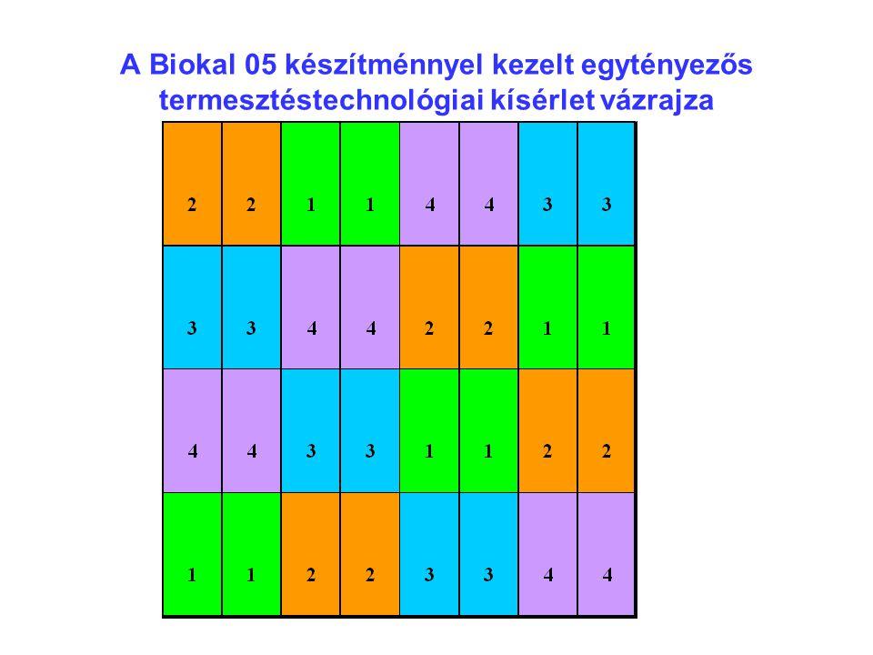A Biokal 05 készítménnyel kezelt egytényezős termesztéstechnológiai kísérlet vázrajza