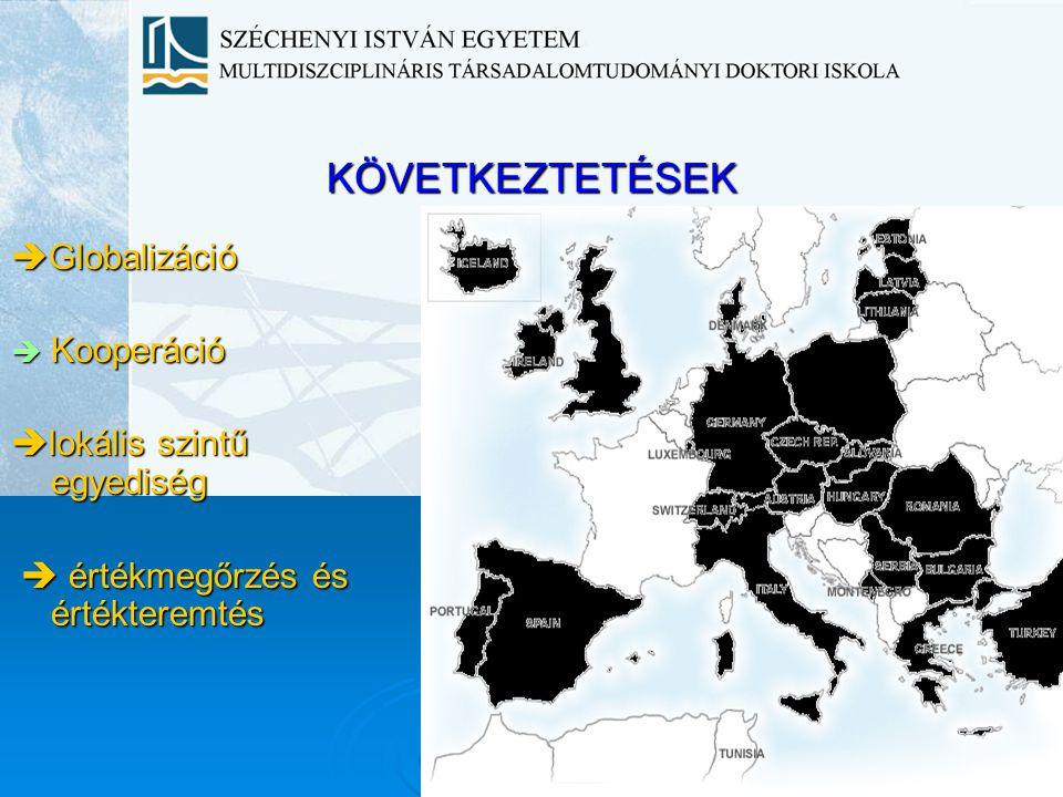 KÖVETKEZTETÉSEK Globalizáció Kooperáció lokális szintű egyediség