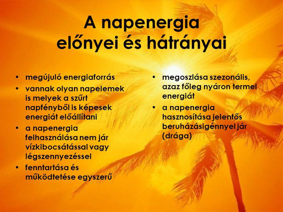 A napenergia előnyei és hátrányai