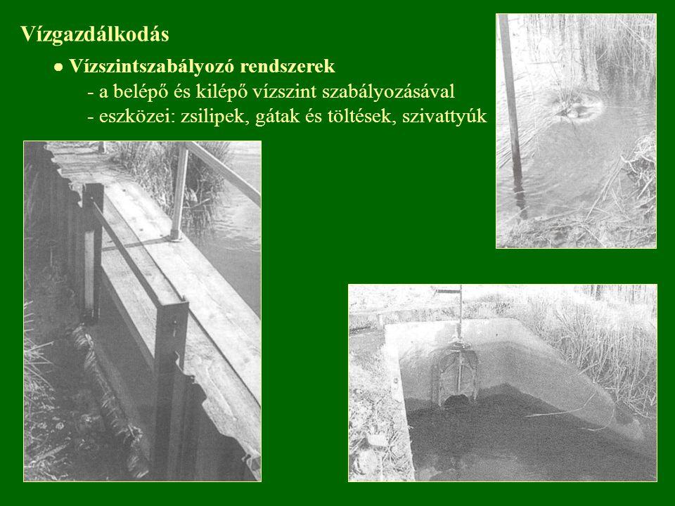 Vízgazdálkodás - a belépő és kilépő vízszint szabályozásával