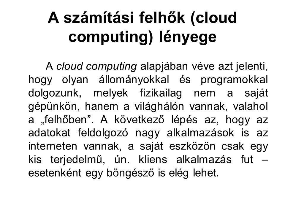 A számítási felhők (cloud computing) lényege