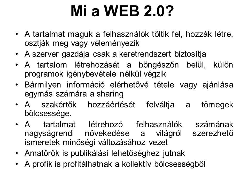 Mi a WEB 2.0 A tartalmat maguk a felhasználók töltik fel, hozzák létre, osztják meg vagy véleményezik.
