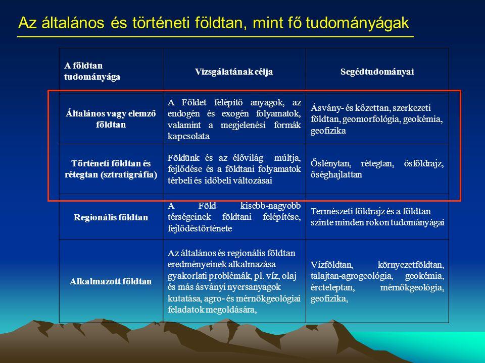 Az általános és történeti földtan, mint fő tudományágak