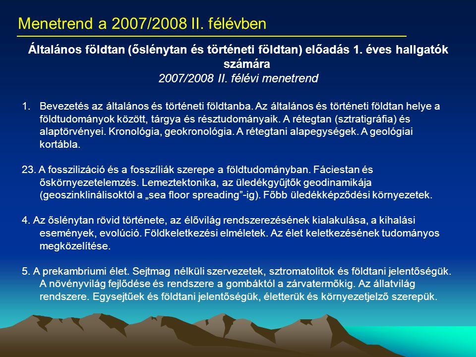 Menetrend a 2007/2008 II. félévben