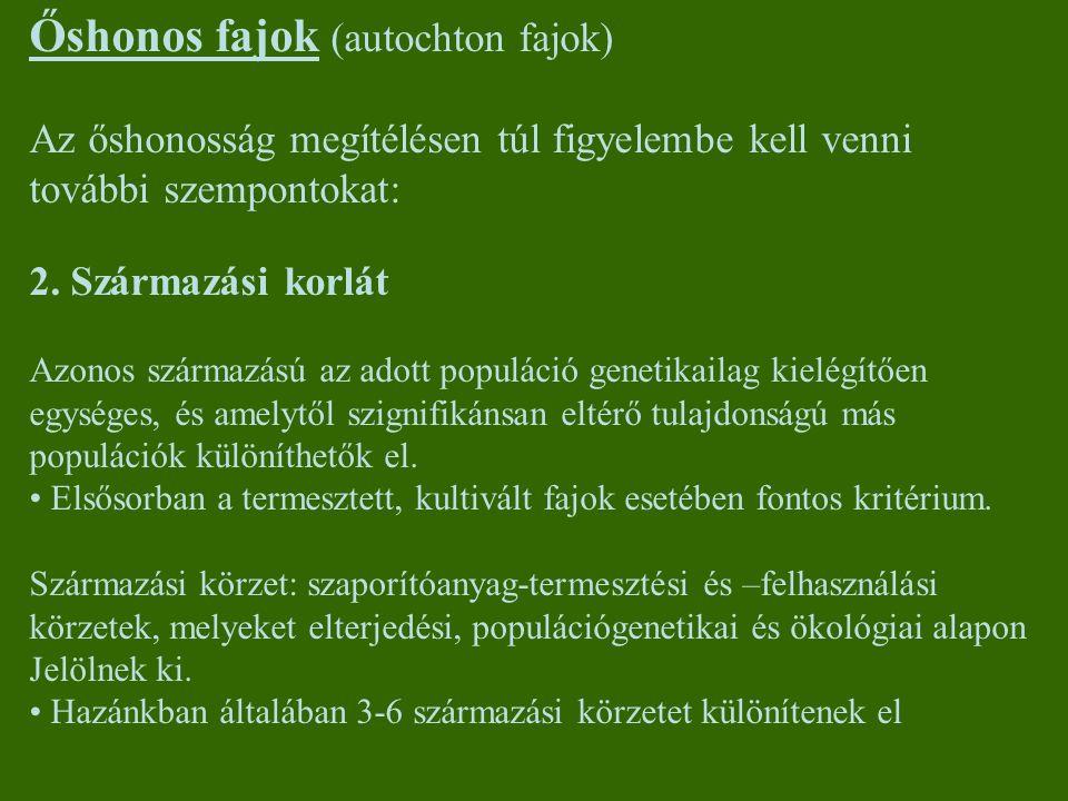 Őshonos fajok (autochton fajok)