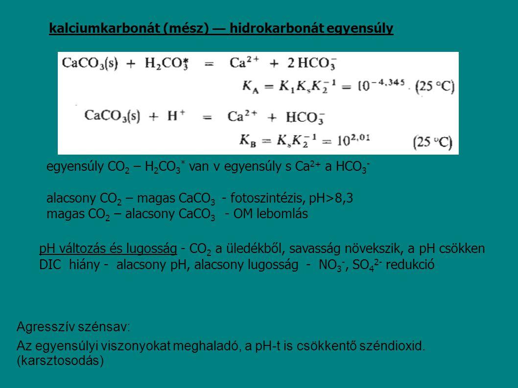 kalciumkarbonát (mész) — hidrokarbonát egyensúly