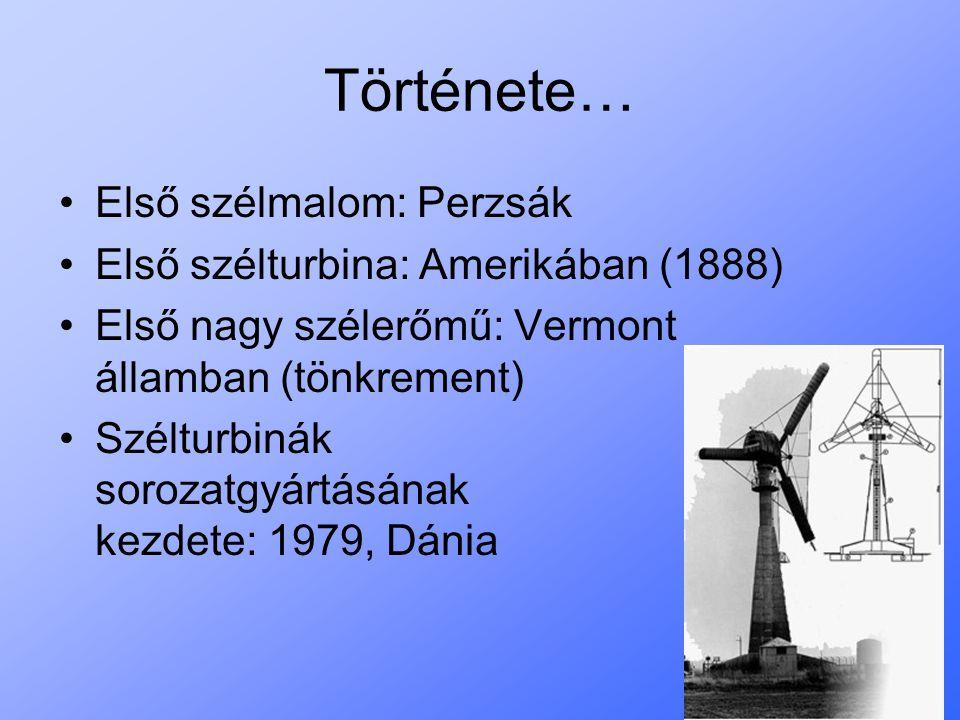 Története… Első szélmalom: Perzsák Első szélturbina: Amerikában (1888)