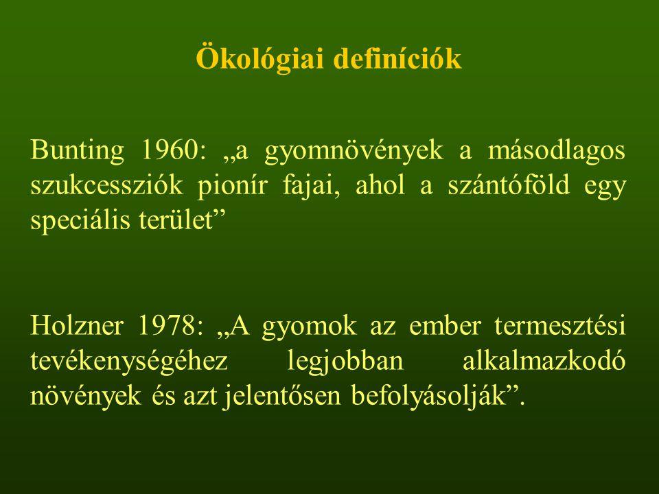 """Ökológiai definíciók Bunting 1960: """"a gyomnövények a másodlagos szukcessziók pionír fajai, ahol a szántóföld egy speciális terület"""