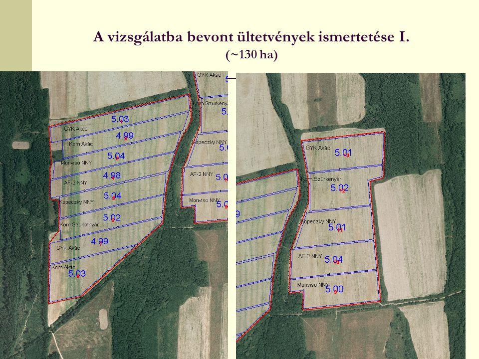 A vizsgálatba bevont ültetvények ismertetése I. (~130 ha)