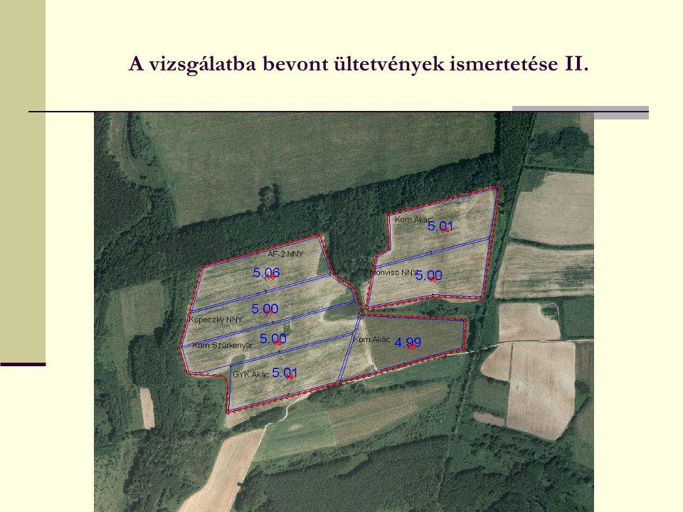 A vizsgálatba bevont ültetvények ismertetése II.
