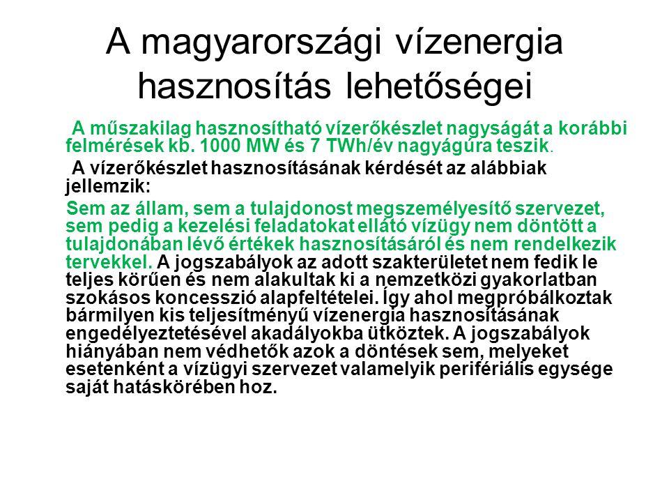 A magyarországi vízenergia hasznosítás lehetőségei
