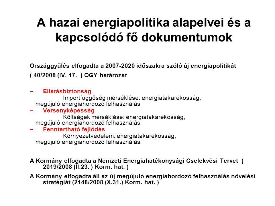 A hazai energiapolitika alapelvei és a kapcsolódó fő dokumentumok