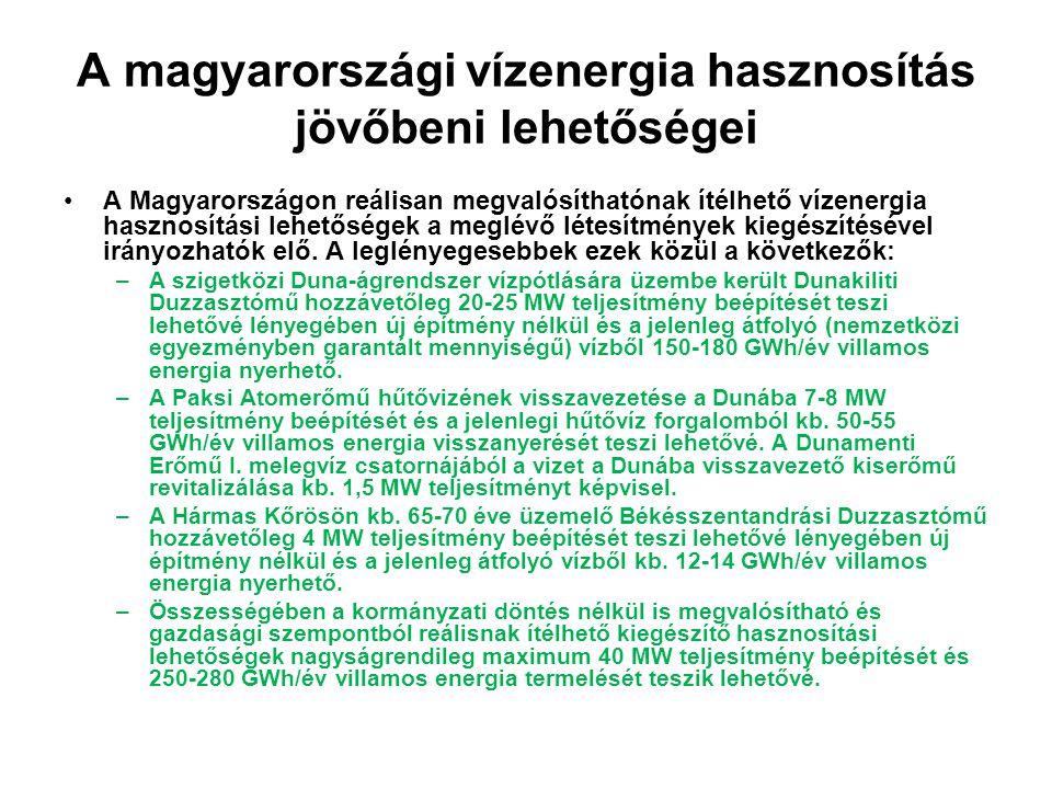 A magyarországi vízenergia hasznosítás jövőbeni lehetőségei
