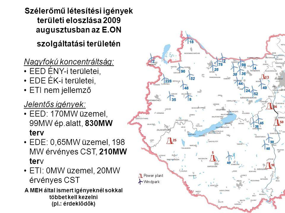 Nagyfokú koncentráltság: EED ÉNY-i területei, EDE ÉK-i területei,