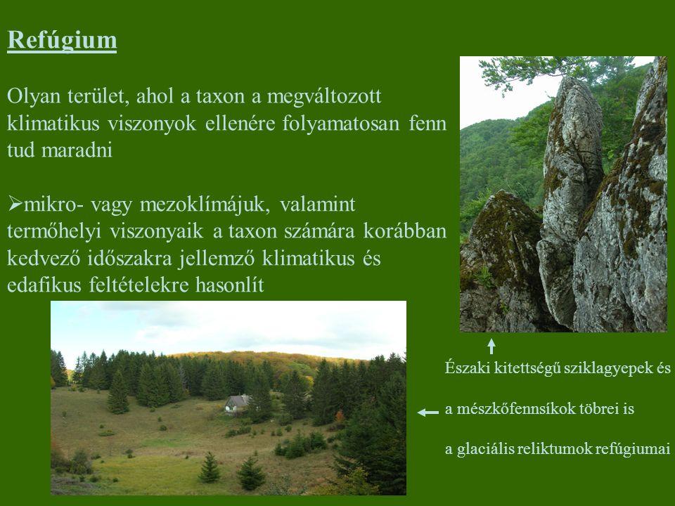 Refúgium Olyan terület, ahol a taxon a megváltozott klimatikus viszonyok ellenére folyamatosan fenn tud maradni.