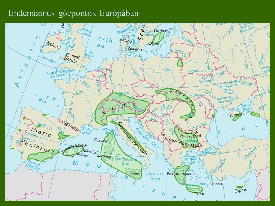 Endemizmus gócpontok Európában
