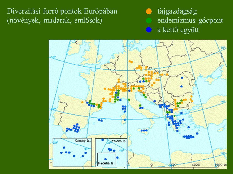 Diverzitási forró pontok Európában