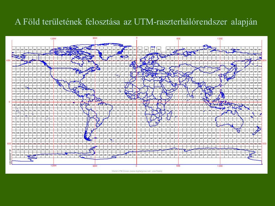 A Föld területének felosztása az UTM-raszterhálórendszer alapján