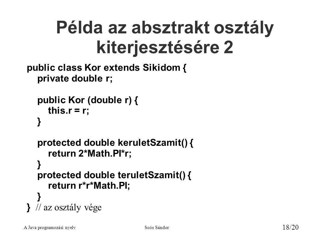 Példa az absztrakt osztály kiterjesztésére 2