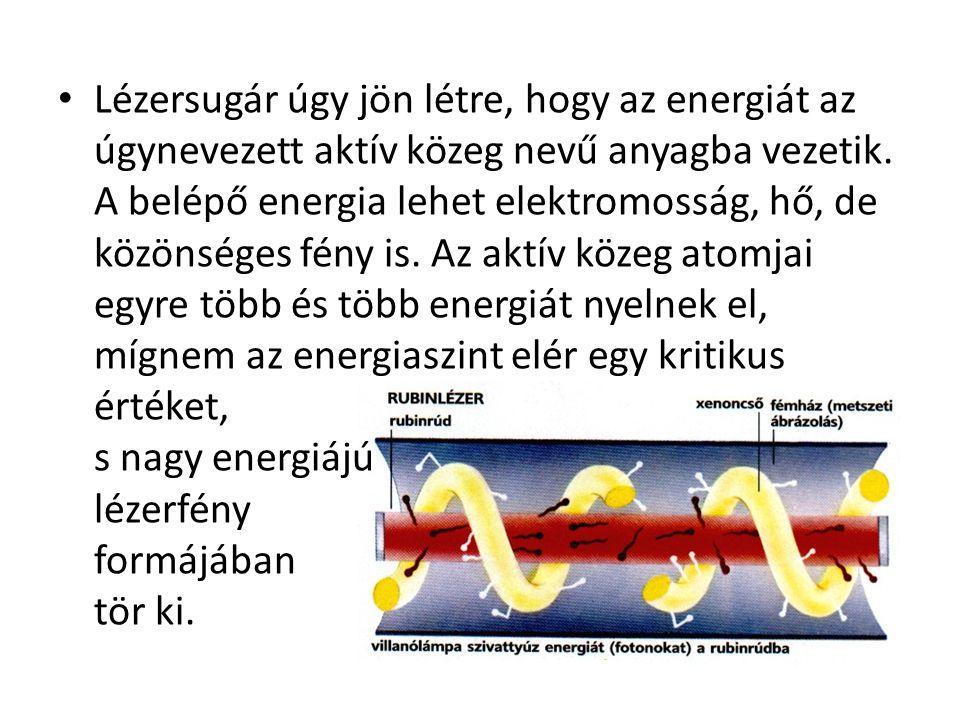 Lézersugár úgy jön létre, hogy az energiát az úgynevezett aktív közeg nevű anyagba vezetik.