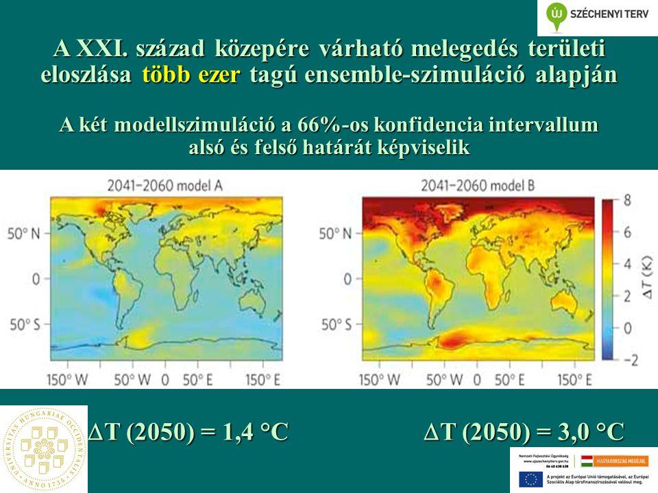 A XXI. század közepére várható melegedés területi eloszlása több ezer tagú ensemble-szimuláció alapján